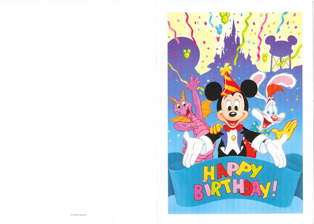 Figment Mickey and Roger Rabbit Birthday Card Disney World