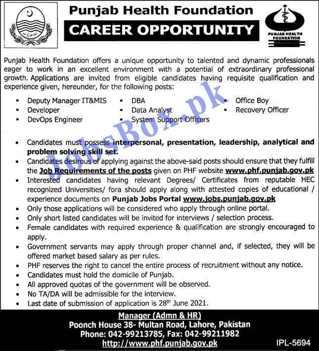 Punjab Health Foundation Job Advertisement 2021 - Latest Announcement of PHF PAKISTAN Jobs 2021
