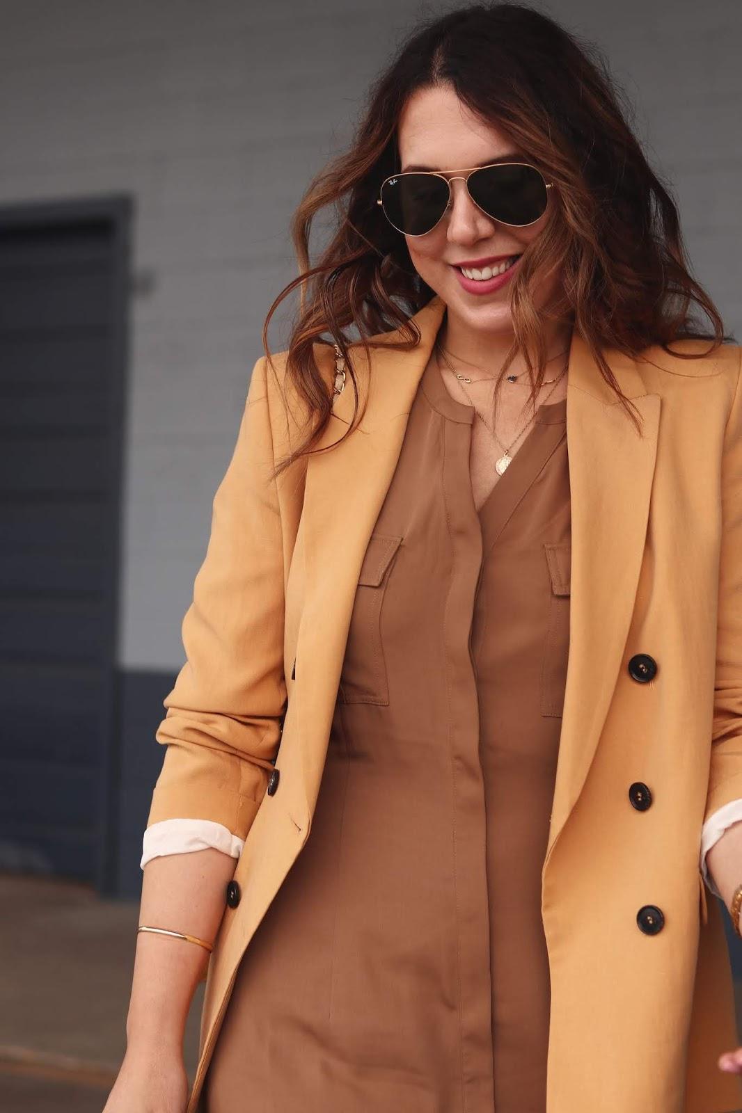 Le Chateau maxi dress and blazer outfit aleesha harris