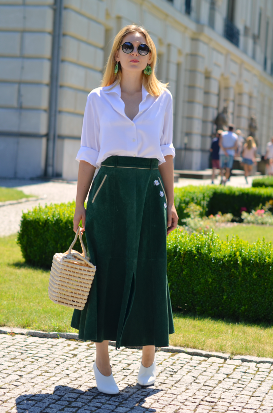 skórzana spódnica midi (leather skirt ) green skirt