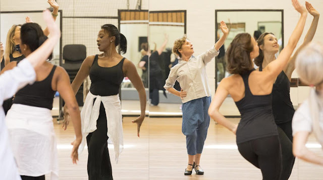 Dawn Hope, Imelda, Staunton, Emily Goodenough rehearse Follies, National Theatre (photo Johan Persson)