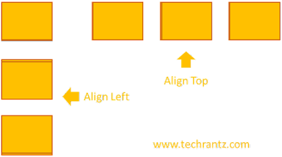 """Image showing the improper alignment results using """"Align Left"""" and """"Align Top"""""""