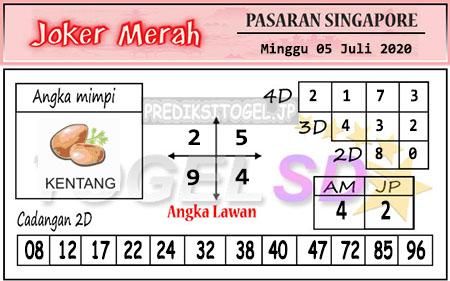 Prediksi Joker Merah SGP Minggu 05 Juli 2020