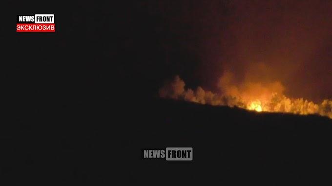 Эксклюзив. Горит батарея гаубиц ВСУ, которая била по Донецку. Снято 31.05.16