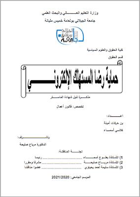 مذكرة ماستر: حماية رضا المستهلك الإلكتروني PDF