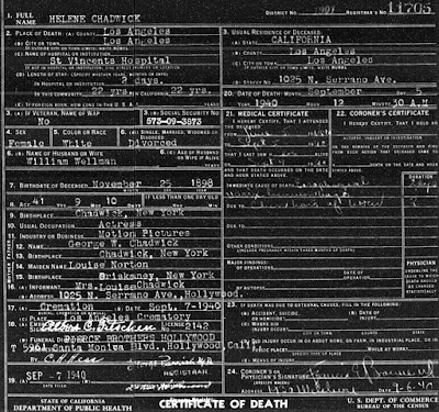 Helene Chadwick Death Certificate
