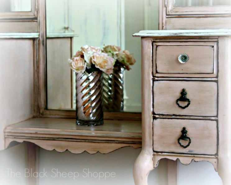Antique vanity painted in custom mix of Antoinette, Scandinavian, and Old White.