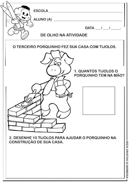Atividade Matemática Educação Infantil Os 3 Porquinhos