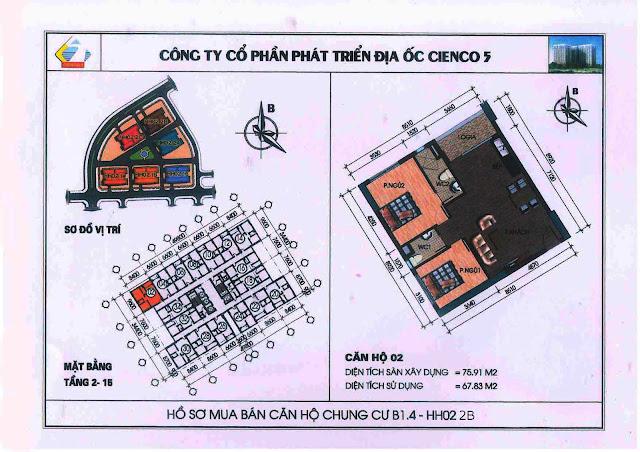 Thiết kế chung cư B1.4 HH02 2B Thanh Hà Cienco 5 căn 02