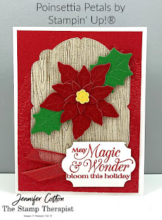 "Beautiful Christmas card using Stampin' Up!'s Poinsettia Petals Bundle. We also used the Red Velvet Paper Pack, Everyday Label Punch, Real Red 3/8"" Sheer Ribbon, Stampin' Cut & Emboss Machine, Evergreen Forest 3D Embossing Folder, Celebration Labels Dies, and Poinsettia Place Designer Series Paper (DSP).  Details and video link on blog.  #StampTherapist #Stampinup"