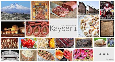Kayseri'nin meşhur şeylerini gösteren resimlerden oluşan kolaj