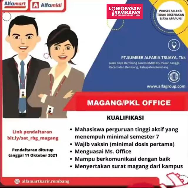 Lowongan Kerja Magang/PKL Office Alfamart Rembang
