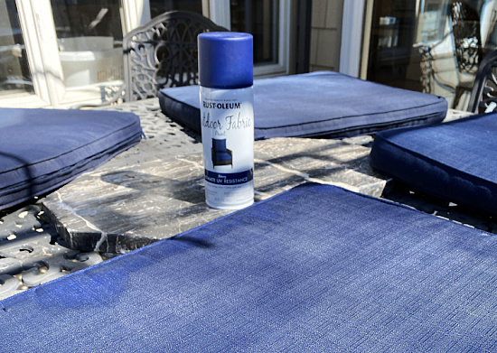 spray painted navy outdoor cushions and can