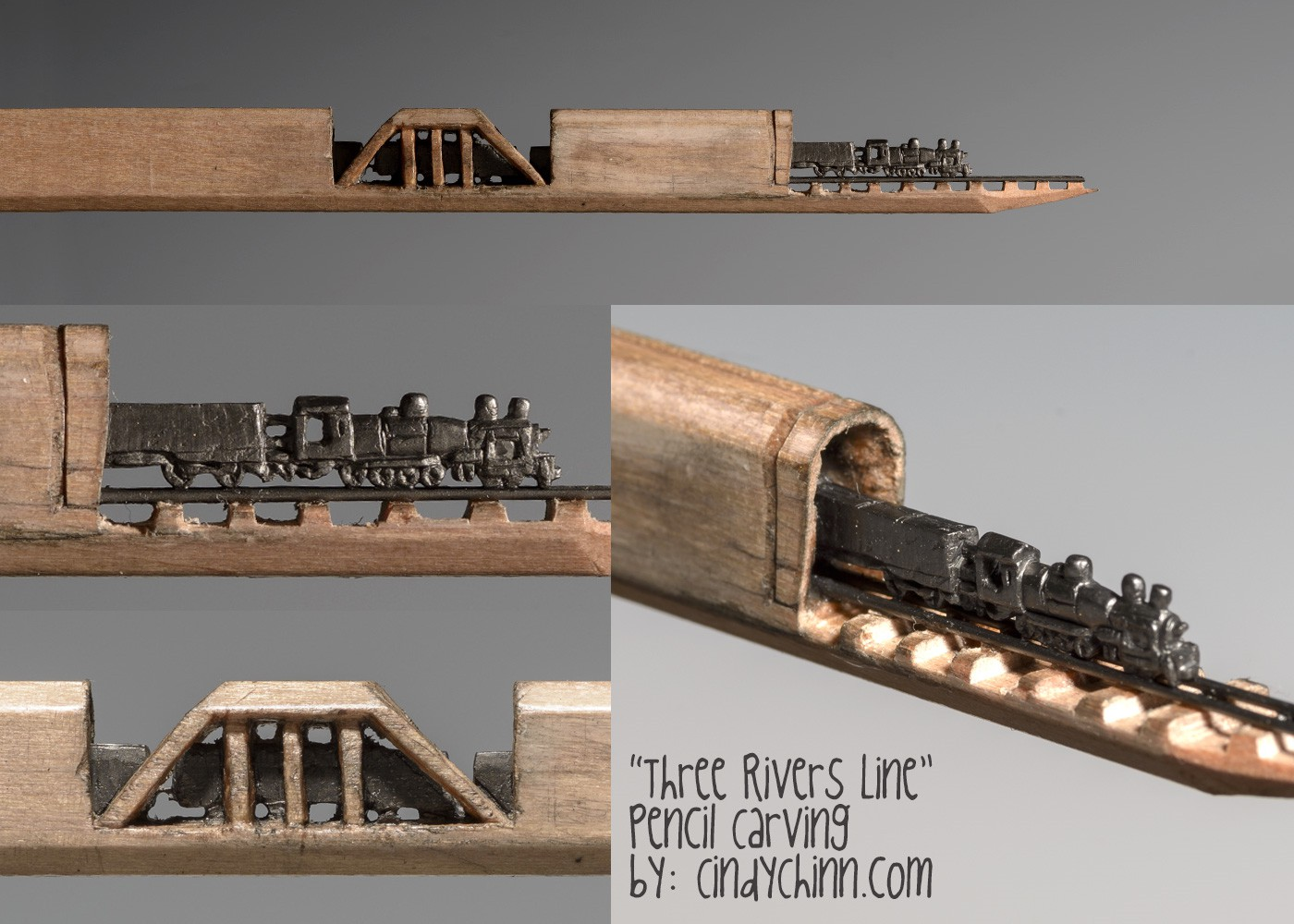 15-Three-Rivers-Line-Train-Cindy-Chinn-Miniature-Carvings-of-Pencil-Graphite-www-designstack-co