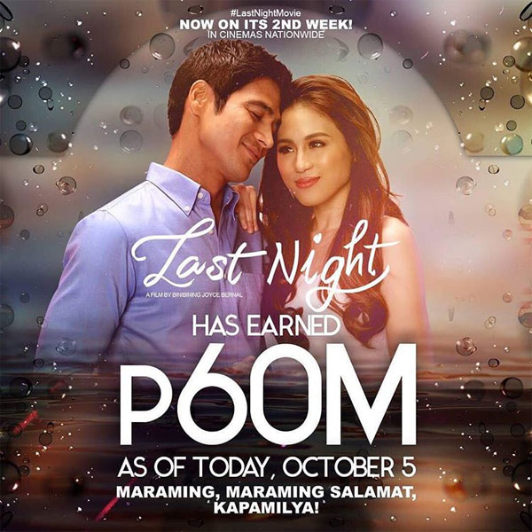 Last Night earns P60 million on its first week at the box office