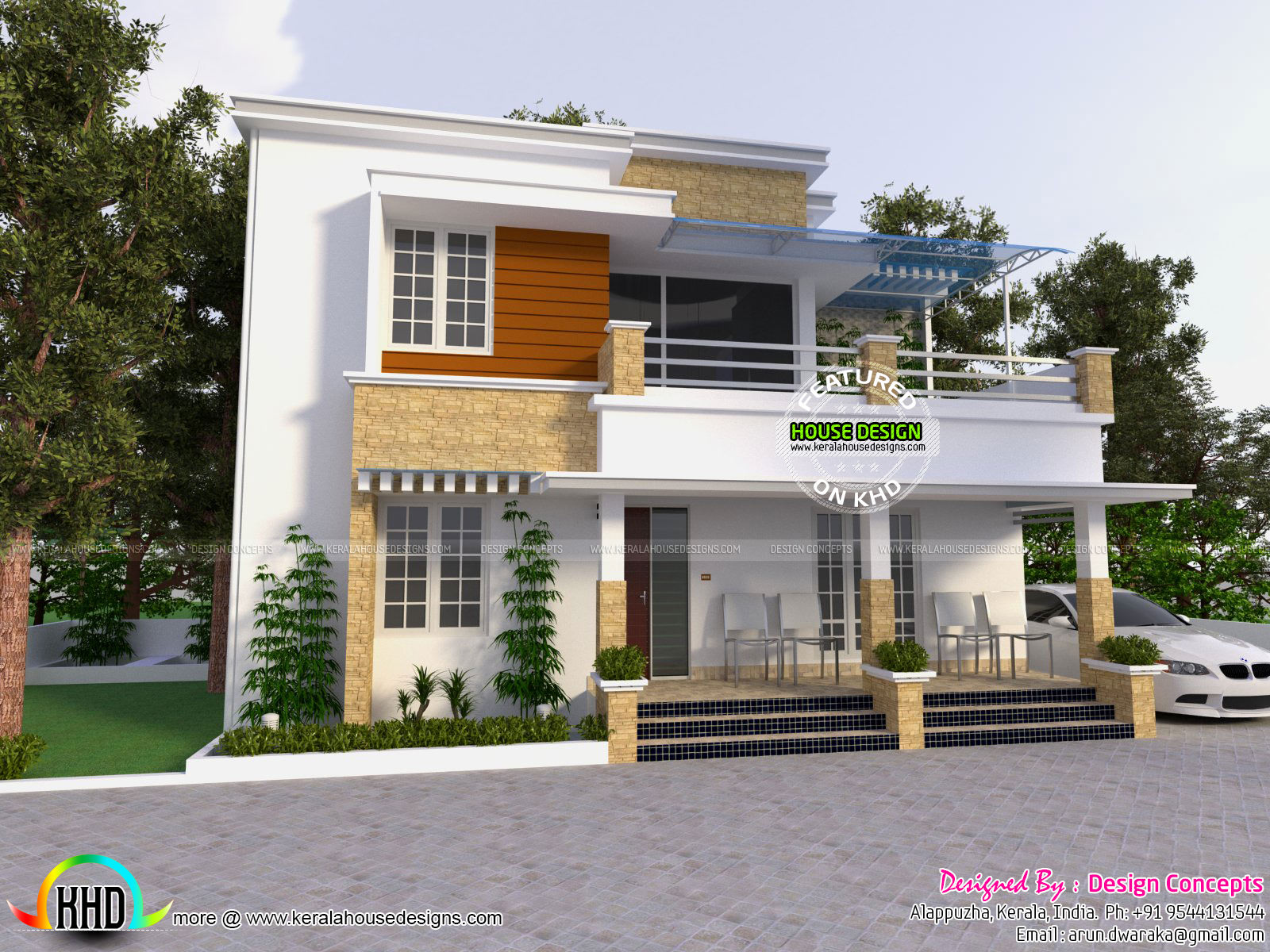 Modern house with detached porch kerala home design and for Modern house designs and floor plans in india