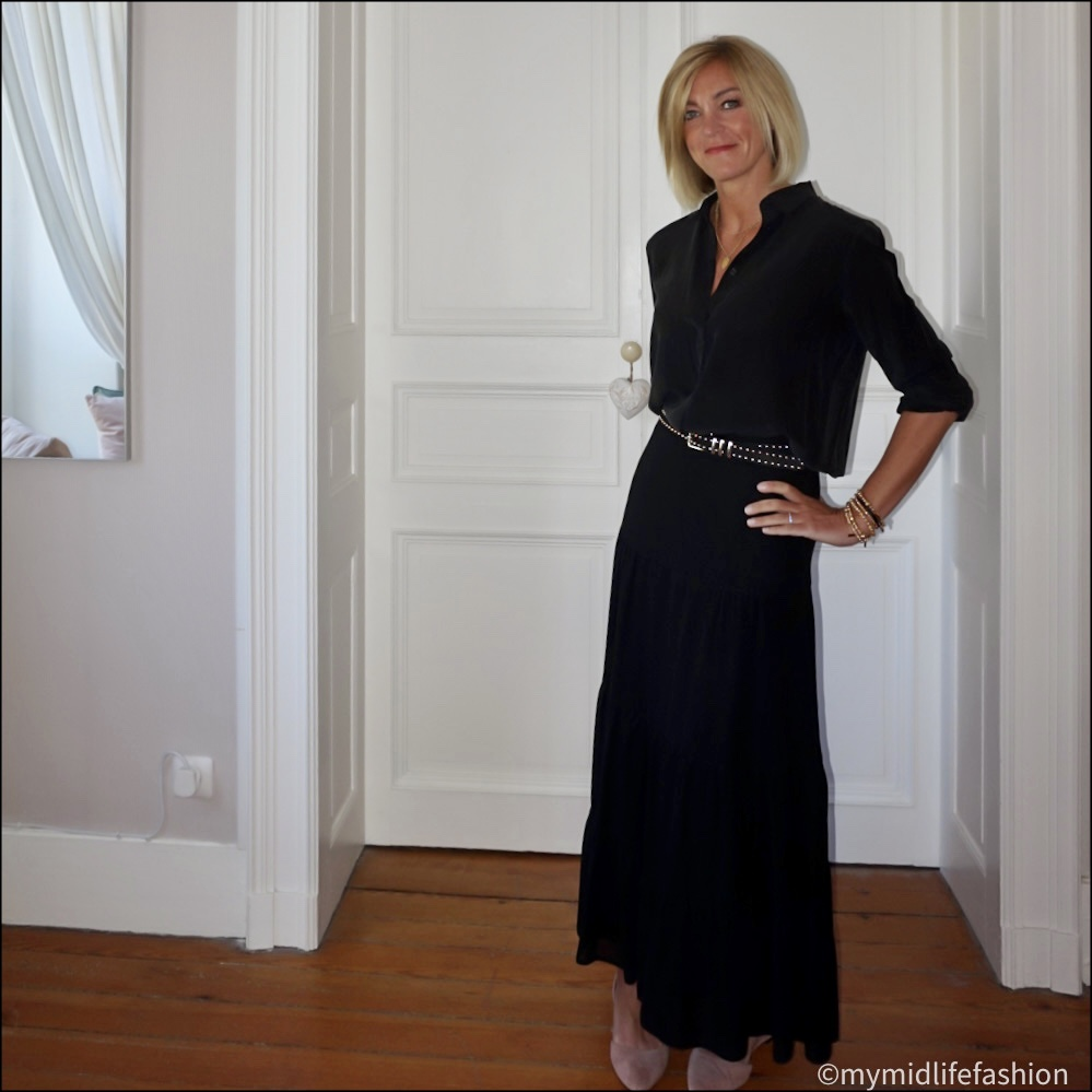 my midlife fashion, marks and Spencer silk shirt, the kooples leather studded belt, marks and Spencer tiered maxi skirt, h and m nude cut out ballet flats