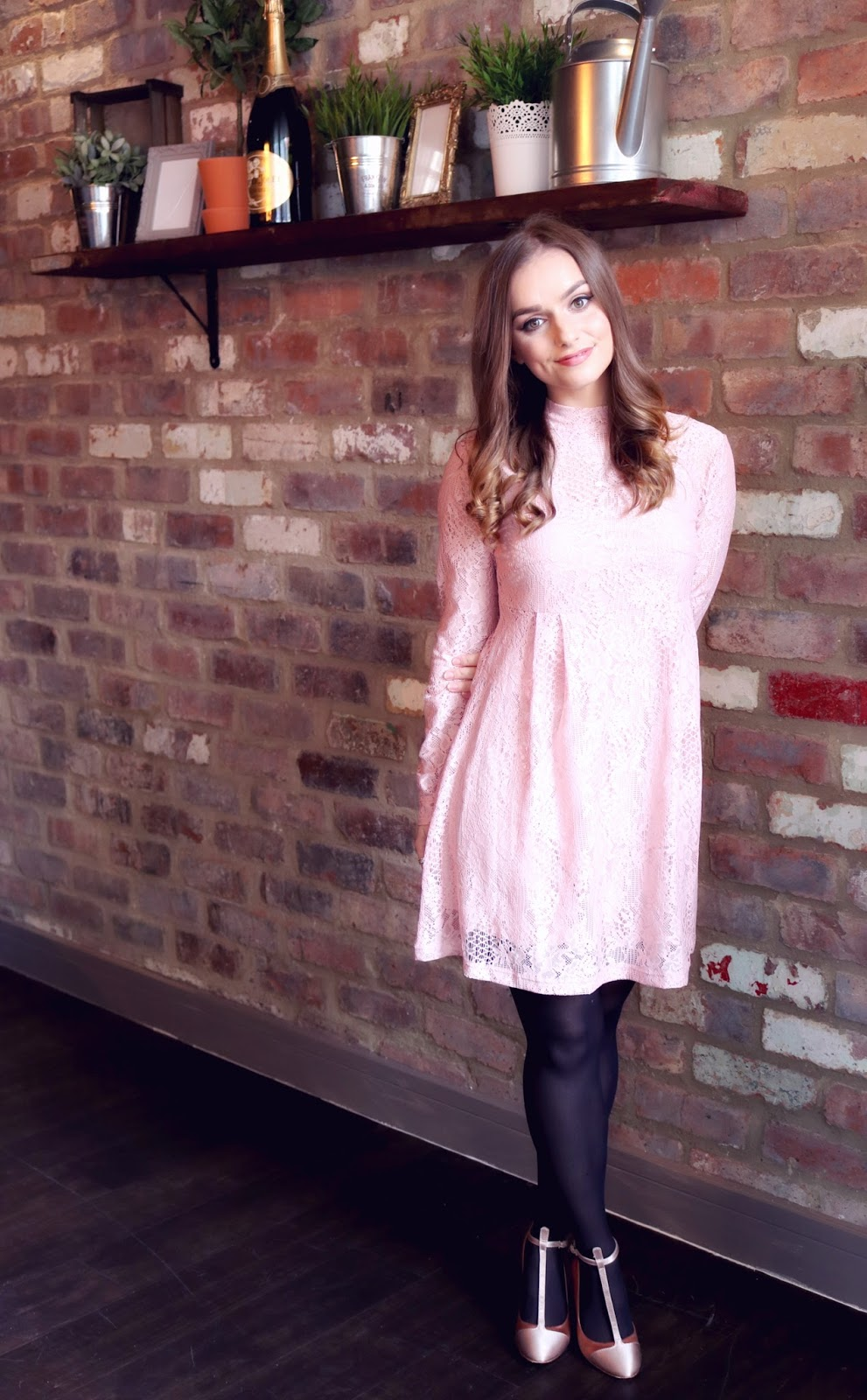 Pink ASOS Lace Babydoll Dress and Jewellery Box Unicorn Necklace, Daisy Bracelet and Stacker Rings