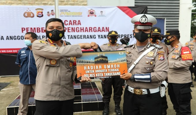 Dinilai Berkinerja Baik, Anggota Satlantas Polresta Tangerang Bripka Christian Galih dapat Kado Umroh