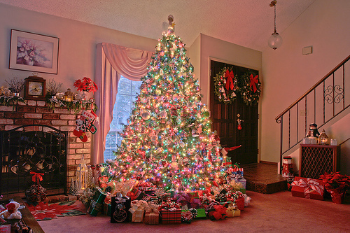 Christmas DP for Whatsapp gorgeous Christmas tree with lights in home image