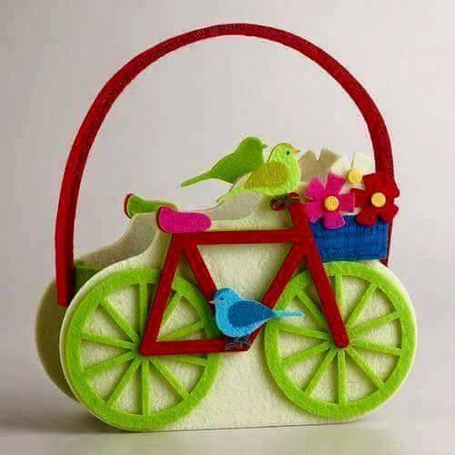 Ide membuat kerajinan menggunakan foam berbentuk tas bunga bermotif sepeda