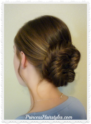Gorgeous fishtail updo hairstyle for Prom and Homecoming