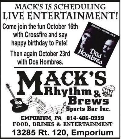 10-16/23 Live Entertainment, Mack's, Emporium
