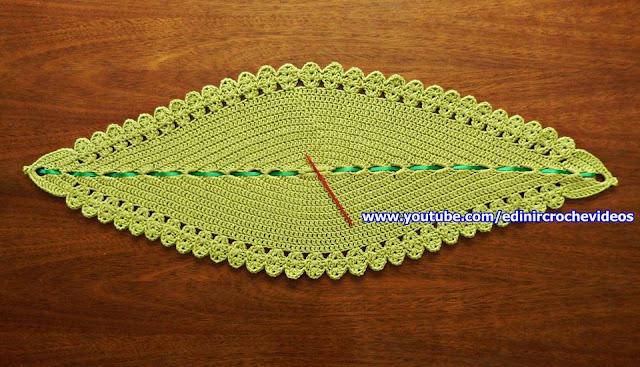 tapete de croche modelo folha canhotas passo a passo com Edinir-Croche aprender croche