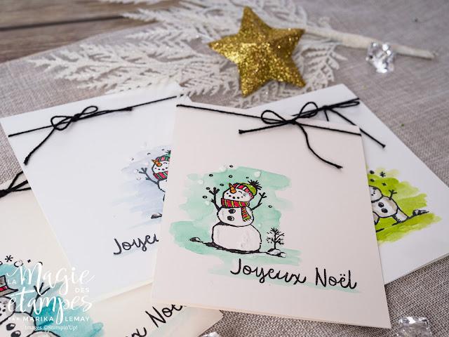 Carte de Noël Stampin' Up! avec le jeu d'étampe La neige prend vie