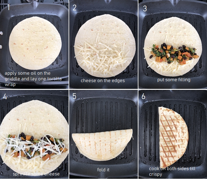 image of quesadilla assembly
