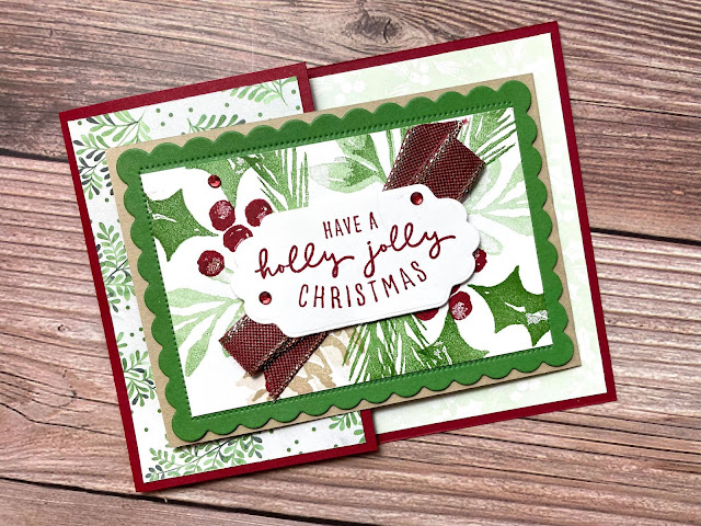 Fun Fold: Stampin' Up! Christmas to Remember and Christmas Season Bundles.  3 cards shown on weekly Facebook Live.  Video, supplies, and measurements on blog.  #StampinUp #StampTherapist #ChristmastoRemember #ChristmasSeason