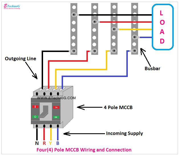four pole MCCB Connection diagram, 4 pole MCCB wiring