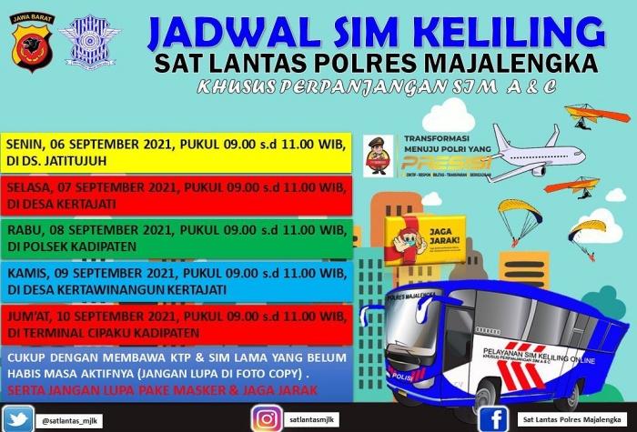 Jadwal SIM Keliling Majalengka September 2021