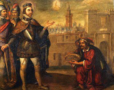 San Fernando recibe las llaves de la ciudad del rey Axafat - Sobre pieza de cobre de 46 cms - Francisco Pacheco 1634 - Catedral de Sevilla