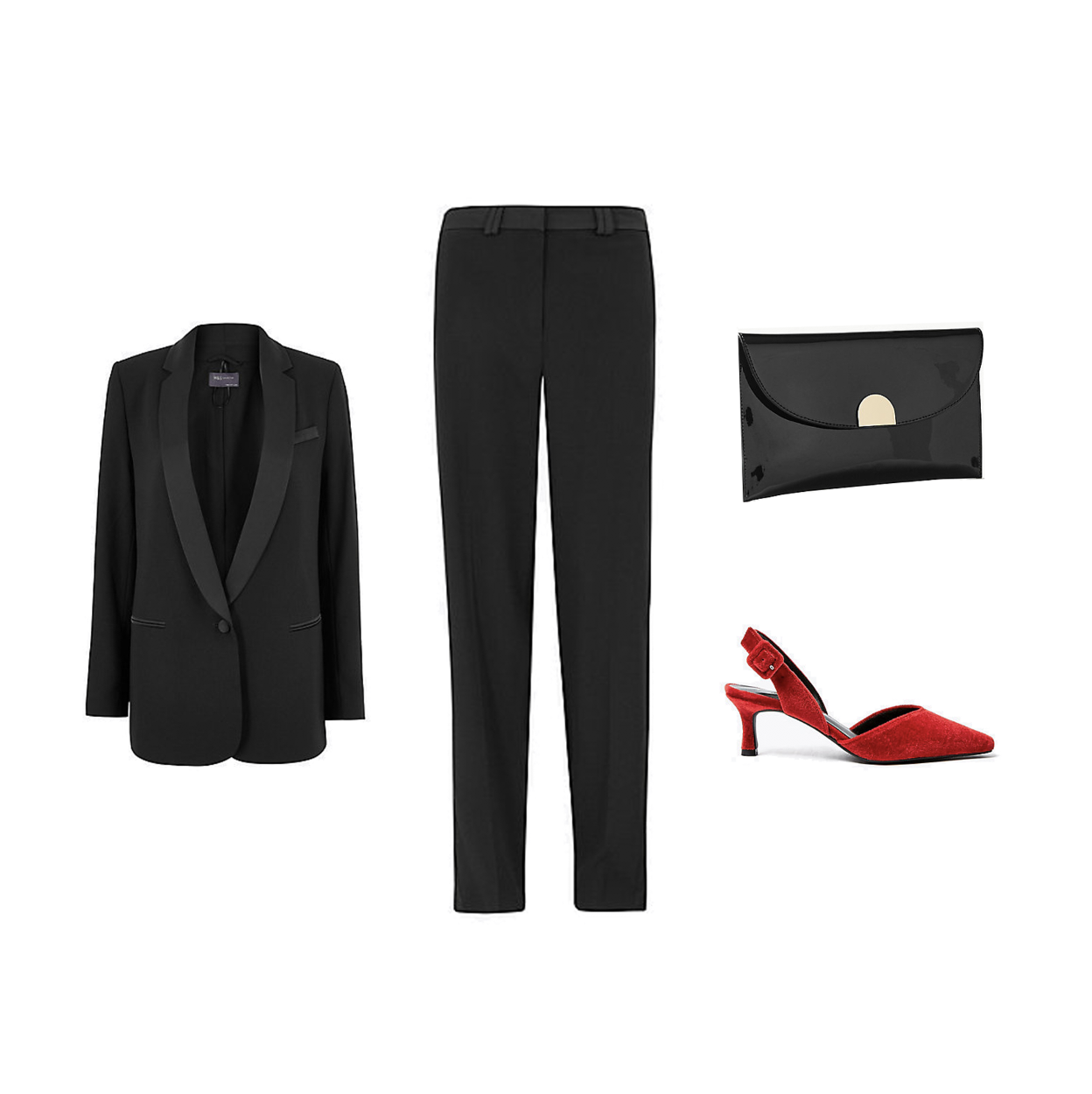 my midlife fashion, party wear, marks and Spencer party wear, marks and Spencer tuxedo blazer, marks and Spencer tuxedo relaxed straight leg trousers, marks and Spencer fold over chain clutch bag, marks and Spencer velvet slingback kitten heel court shoes