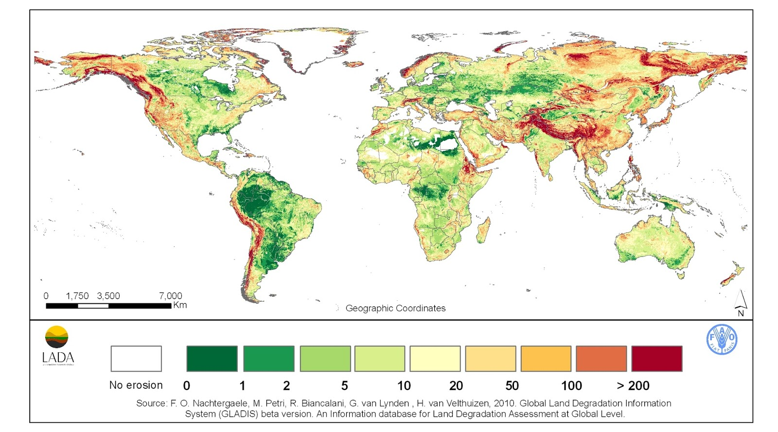 Soil loss by water erosion across the world