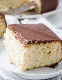 close up of slice of simple cake with chocolate icing