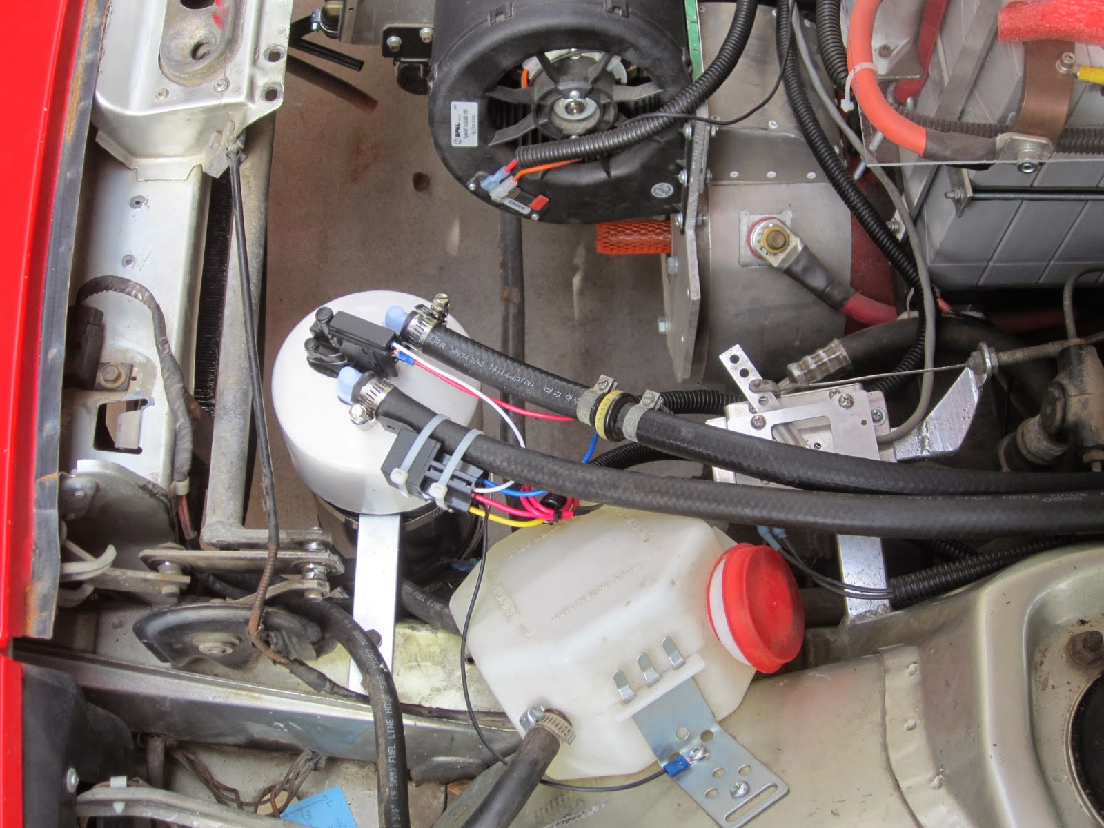 Porsche 924 Electric Conversion Fan Wiring Heres Another View That Bulge In The Other Tube Is A Check Valve Reason For This When Pump Turns Off You Dont Want Air To Rush Back Into
