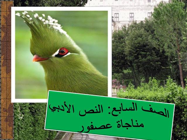 درس مناجاة عصفور في اللغة العربية للصف السابع الفصل الاول