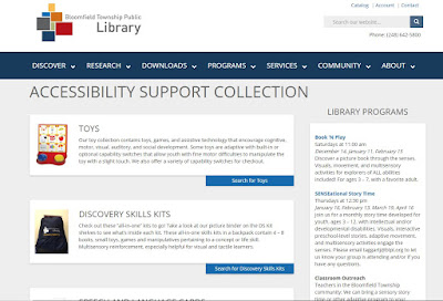 screenshot of Accessibility Support Collection web page at the Bloomfield Township Public Library