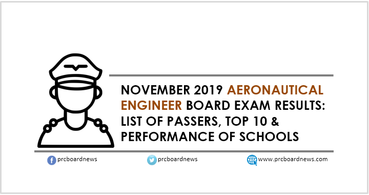 RESULT: November 2019 Aeronautical Engineer board exam passers, top 10
