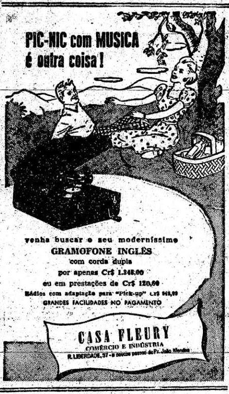 Propaganda dos anos 50 da Casa Fleury promovendo o gramofone inglês