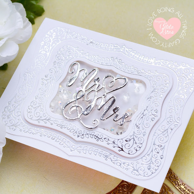 Illustrative Floral Glimmer Plates, Wedding Cards, Glimmer Hot Foil System, #SpellbindersClubKits #NeverStopMaking Spellbinders, Card Making, Stamping, Die Cutting, handmade card, ilovedoingallthingscrafty, Stamps, how to,