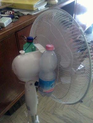 Selbstgebaute Klimaanlage - Ventilator mit Eis