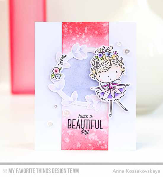 Handmade card from Anna Kossakovskaya featuring Beautiful Girl and Lisa Johnson Designs Spring Wreath stamp sets and Die-namics #mftstamps