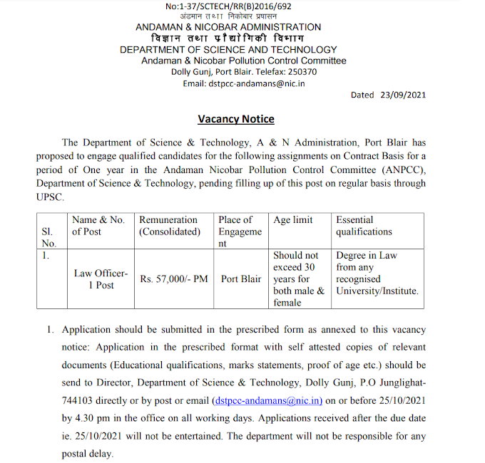 Law Officer at Dept of Science & Technology - last date 25/10/2021