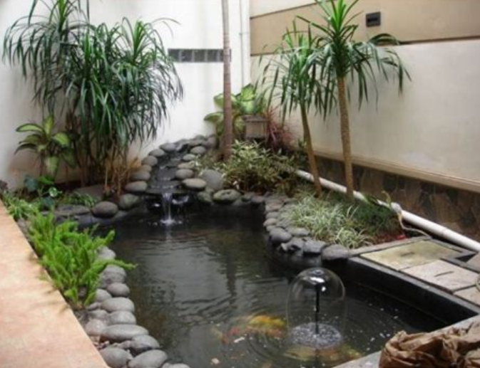 Kolam ikan berbentuk kotak - Model desain taman dengan kolam ikan