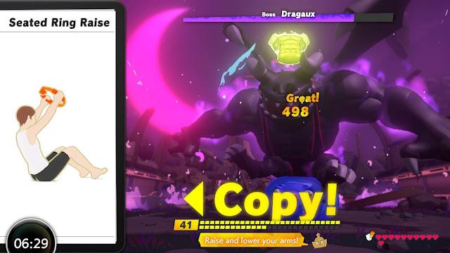 Ring Fit Adventure Dragaux El Dorago boss fight blue puffersquish sneeze face
