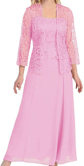 Long Pink Mother of The Bride Dresses