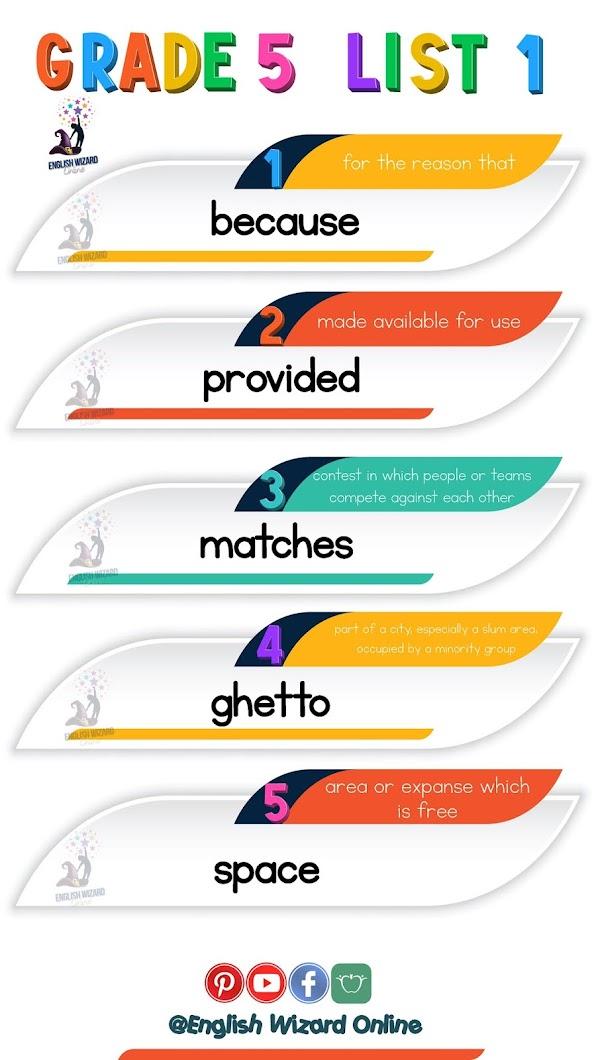 english wizard online grade 5 spelling words printable list 1